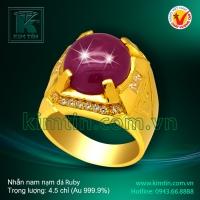 Nhẫn nam nạm đá Ruby