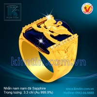 Nhẫn nam 24k nạm đá Sapphire