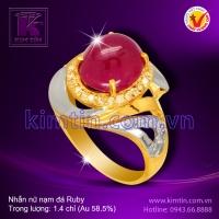 Nhẫn nữ vàng 14k nạm đá Ruby
